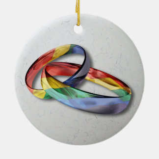 Rainbow Wedding Rings for Marriage Equality Round Ceramic Decoration