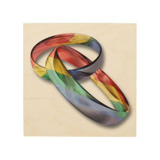 Rainbow Wedding Rings for Marriage Equality Wood Print