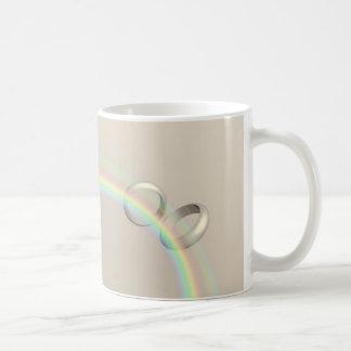 Rainbow Wedding Rings Basic White Mug