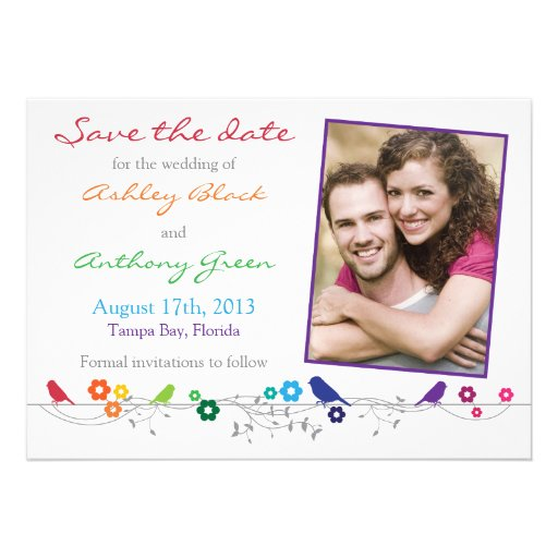 Rainbow Wedding Save the Date Birds Flowers Invitations