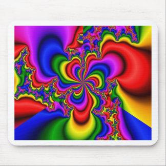 rainbow wheel fractal art mouse mat