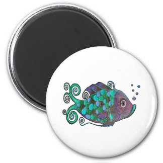 Rainbow Whimsical Fish Blue & Purple Hue Art Magnet