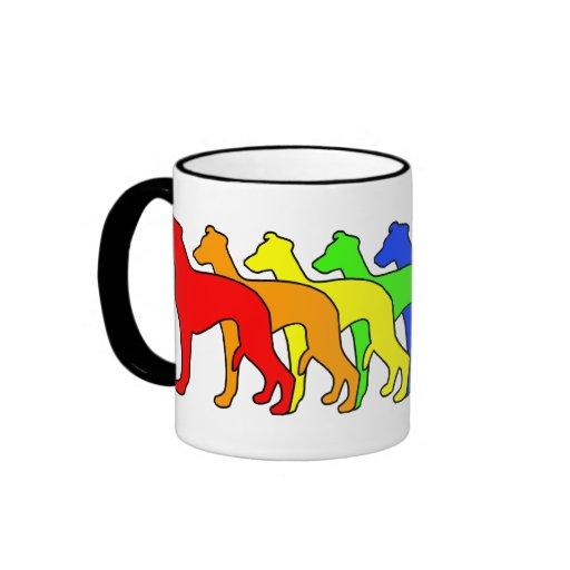 Rainbow Whippet Coffee Mugs
