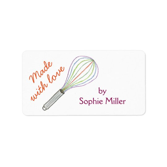 Rainbow whisk personalised food gift labels