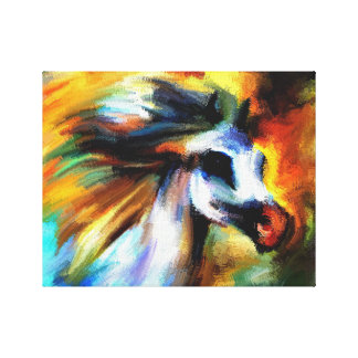 Rainbow White Abstract Horse Canvas Print