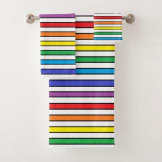 Rainbow, White and Black Stripes Bath Towel Set