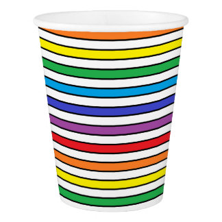 Rainbow, White and Black Stripes Paper Cup