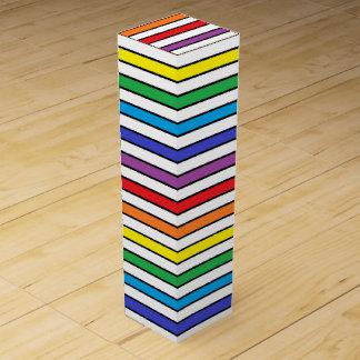 Rainbow, White and Black Stripes Wine Gift Box