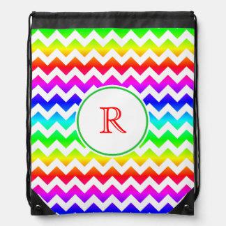 Rainbow White Chevron Monogram Backpack