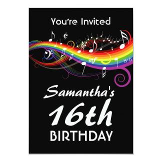 Rainbow White Music Notes 16th Birthday Party 13 Cm X 18 Cm Invitation Card