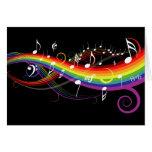 Rainbow White Music Notes Card