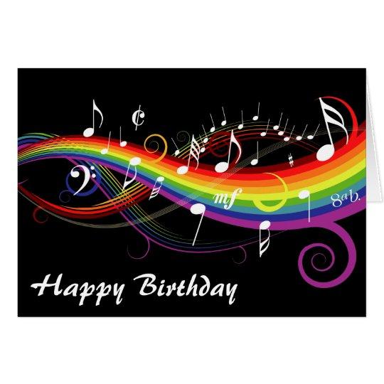 Rainbow White Music Notes Happy Birthday Card