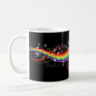 Rainbow White Music Notes Mug