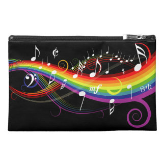 Rainbow White Music Notes on Black Travel Accessories Bags