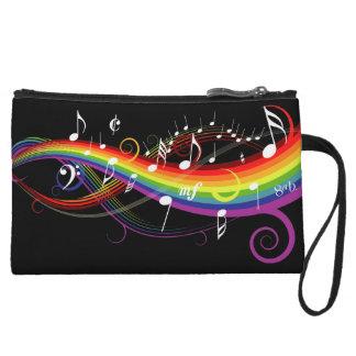 Rainbow White Music Notes on Black Wristlet Clutches
