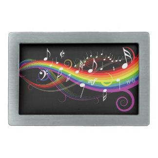 Rainbow White Music Notes on Black Belt Buckles