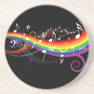 Rainbow White Music Notes on Black Coaster