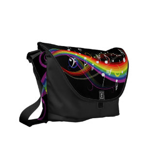 Rainbow White Music Notes on Black Courier Bags