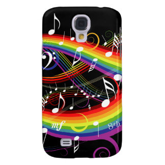 Rainbow White Music Notes on Black Galaxy S4 Case