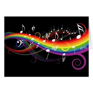 Rainbow White Music Notes on Black Greeting Card