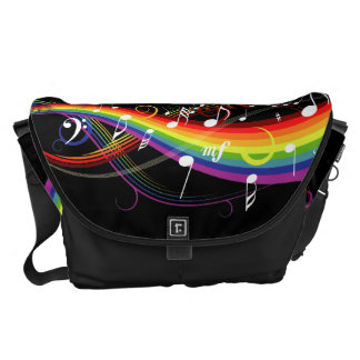 Rainbow White Music Notes on Black Messenger Bag