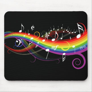 Rainbow White Music Notes on Black Mouse Mat