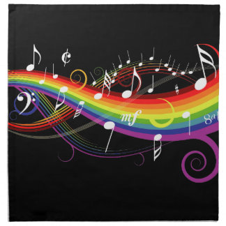 Rainbow White Music Notes on Black Napkin