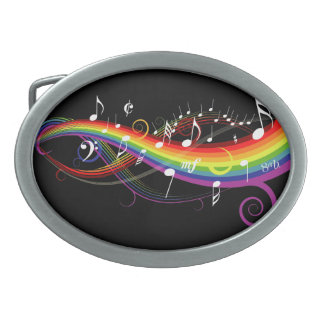 Rainbow White Music Notes on Black Oval Belt Buckles