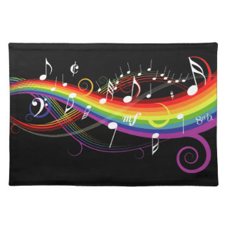 Rainbow White Music Notes on Black Placemat