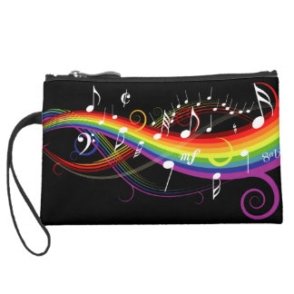 Rainbow White Music Notes on Black Wristlet Clutch
