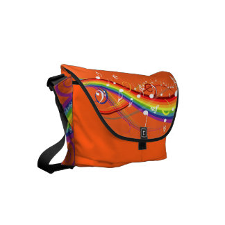 Rainbow White Music Notes on Orange Courier Bags