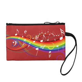 Rainbow White Music Notes on Red Change Purses