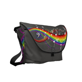Rainbow White Music Notes on Steel Grey Commuter Bags