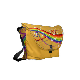 Rainbow White Music Notes on Yellow Messenger Bags