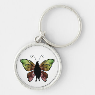 Rainbow Wing Butterfly Raven Silver-Colored Round Key Ring