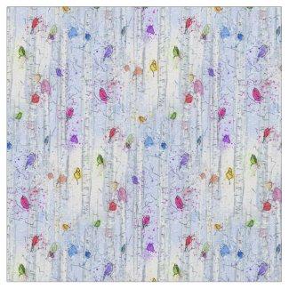 Rainbow Winter Bird Fabric