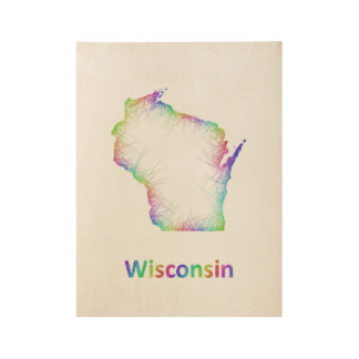 Rainbow Wisconsin map Wood Poster
