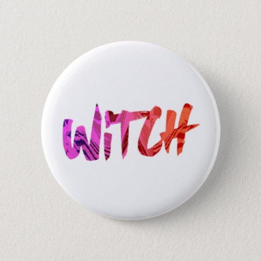 Rainbow Witch Round  Button