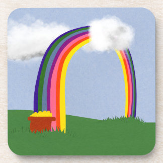 Rainbow with A Pot of Gold Cartoon Art Beverage Coaster