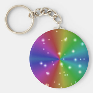 rainbow with asterisks basic round button key ring