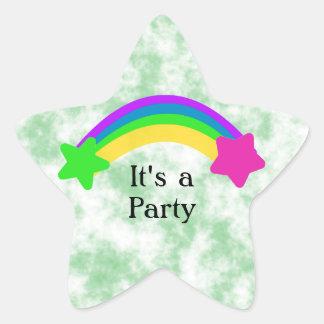 Rainbow with Stars Celebration Star Sticker