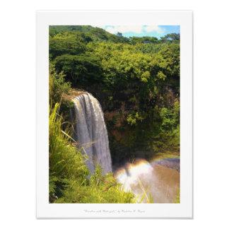 """Rainbow with Waterfall"" Kauai Nature Decor Photo Print"