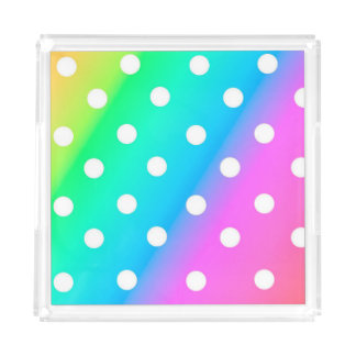 Rainbow with White  Polka Dots Acrylic Tray