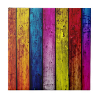 Rainbow Wood Striped Accent Tile