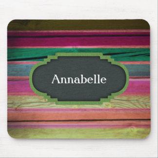 Rainbow Wood With Chalkboard Personalization Mousepad
