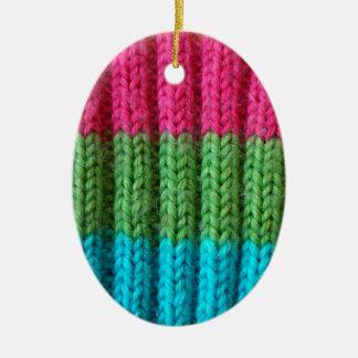 rainbow Wool Sock Ceramic Oval Decoration