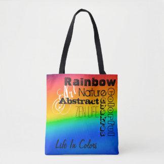 Rainbow/Words Art Tote Bag