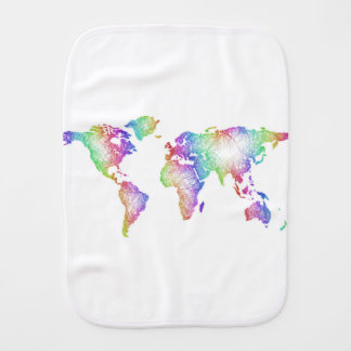 Rainbow World map Burp Cloth