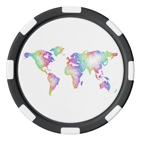 Rainbow World map Poker Chips