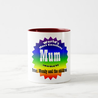 RAINBOW World's Most Excellent....Mum Two-Tone Coffee Mug